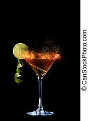 frais, cocktail, chaux, martini
