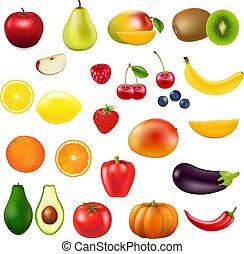 frais, collection, fruit