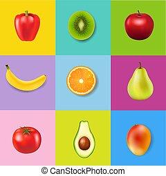 frais, coloré, fond, fruits