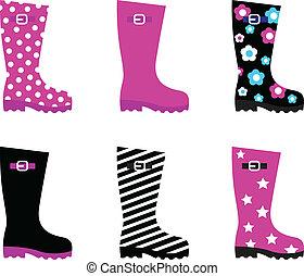 frais, &, coloré, pluie, wellies, bottes, isolé, blanc