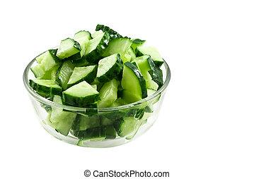 frais, concombres, salade