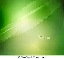 frais, couleurs, barbouillage, vert, vague