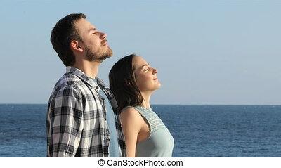 frais, couple, respiration, plage, air