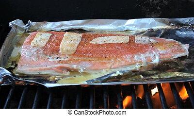 frais, cuisine, saumon, barbecue