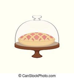 frais cuit, tarte, à, treillis, sommet, dans, dôme, couverture verre, vecteur, illustration