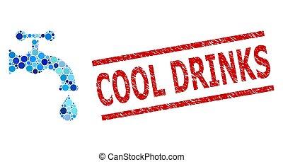 frais, eau, grunge, composition, robinet, timbre, boissons, cercles