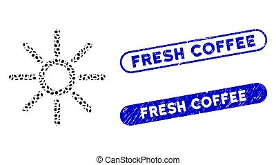frais, elliptique, gratté, timbres, café, soleil, mosaïque