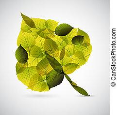 frais, fait, feuille, pousse feuilles, plus petit