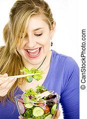 frais, femme, salade