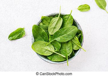 frais, feuilles, épinards