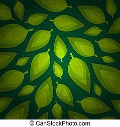 frais, feuilles, vert, conception