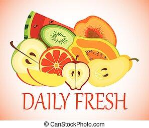 frais, fond blanc, fruits