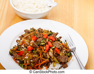 frais, frire, riz, remuer, boeuf
