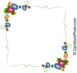 frais, frontière, fleurs, conception, coloré