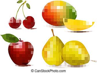 frais, fruit., groupe, vector., coloré