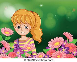 frais, girl, fleurs, jardin, sourire
