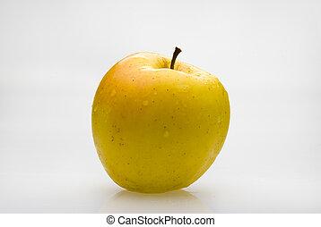 frais, greffe, pomme, jaune, waterdrops
