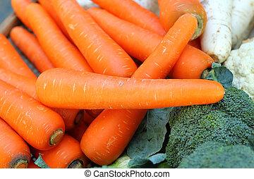 frais, gros plan, carrots.