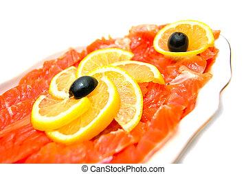 frais, gros plan, saumon fumé