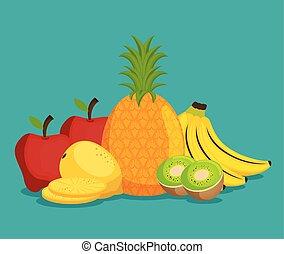 frais, groupe, fruits