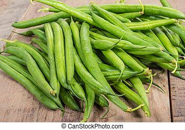 frais, haricots verts, table