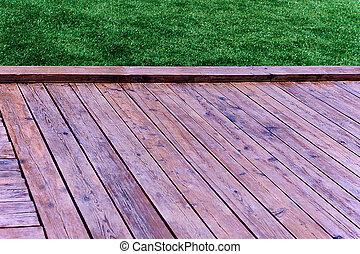 frais, herbe, plancher bois, vert, printemps