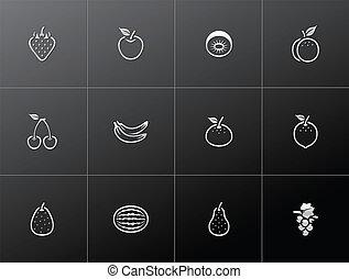 frais, icônes, -, métallique, fruits