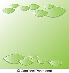 frais, leaves., fond, vert