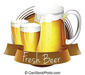 frais, lunettes bière, cruche, étiquette