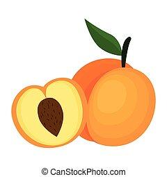 frais, mangue, fruit, icône