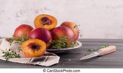frais, nectarines, plaque