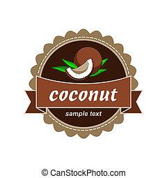 frais, noix coco, labels.