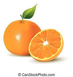frais, oranges, couper, entier, moitié