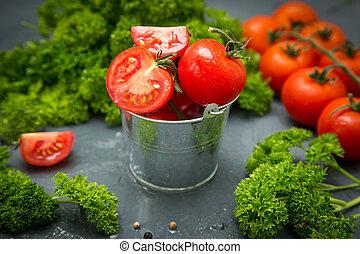 frais, organique, tomatoes., les, detox, concept