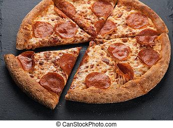 frais, pizza, italien, pepperoni, classique