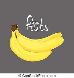 frais, poignée, bananes