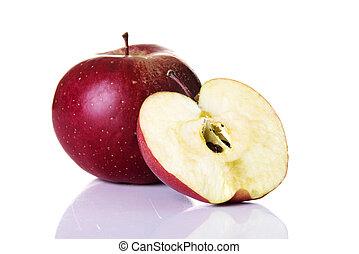 frais, pomme, rouges