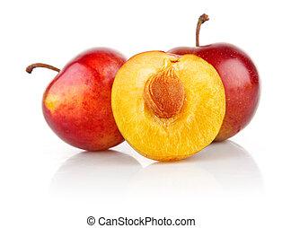 frais, prune, coupure, fruits