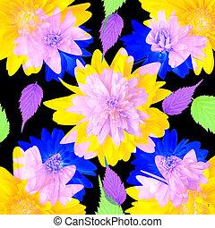frais, résumé, fleurs, été