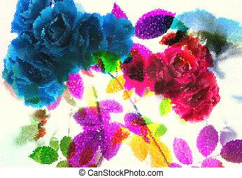 frais, résumé, fleurs, rose., été