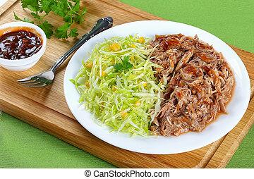 frais, salade chou, tiré, salade viande
