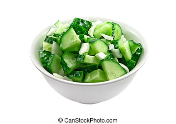 frais, salade, concombres