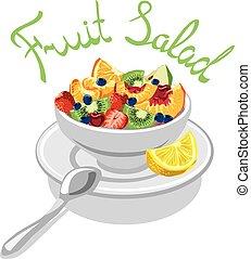 frais, salade, fruits