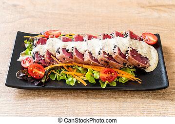 frais, salade, thon, sauce, légume, cru