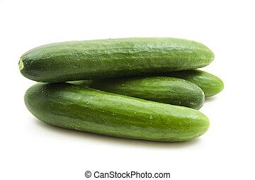 frais, salade verte, concombres