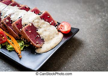 frais, sauce, légume cru, salade thon