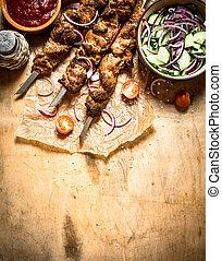 frais, shish, skewers., chiche-kebab, salade