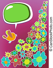 frais, social, média, oiseau, communication