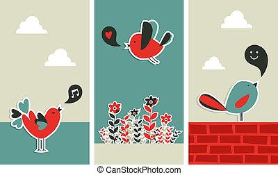 frais, social, média, oiseaux, communication