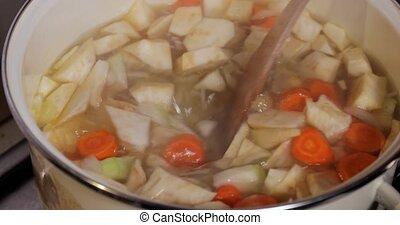frais, soupe, ingrédients, cookingvegetable